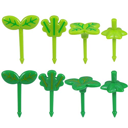 Hemoton 16pcs Cute Food Fruit Picks Plastic Green Plant Toothpick Cartoon Reusable Lunch Bento Box Forks Cupcake Topper For Holiday Kids Birthday Cocktail Wedding Party Favors