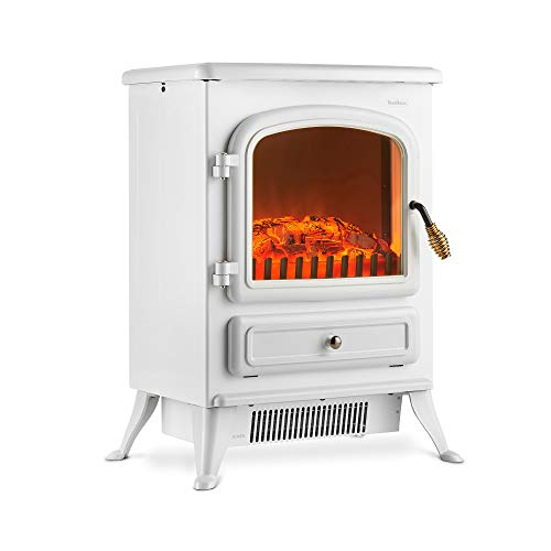 VonHaus Electric Fireplace Stove Heater with Flame Effect White, 1850W – Portable Freestanding...