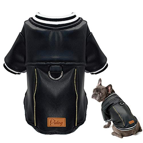 Didog Puppy Dog Leather Jacket-Christmas Costumes, Waterproof Dog Motorcycle Leather Coat, Cold Weather Baseball Jacket Fit Yorkshire,Boston Terrier,Chihuahua