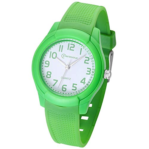 Kids Watch,Girls Boys Analog Waterproof Learning Time Wrist Watch Easy to Read Time WristWatches for Kids as Gift (Green)