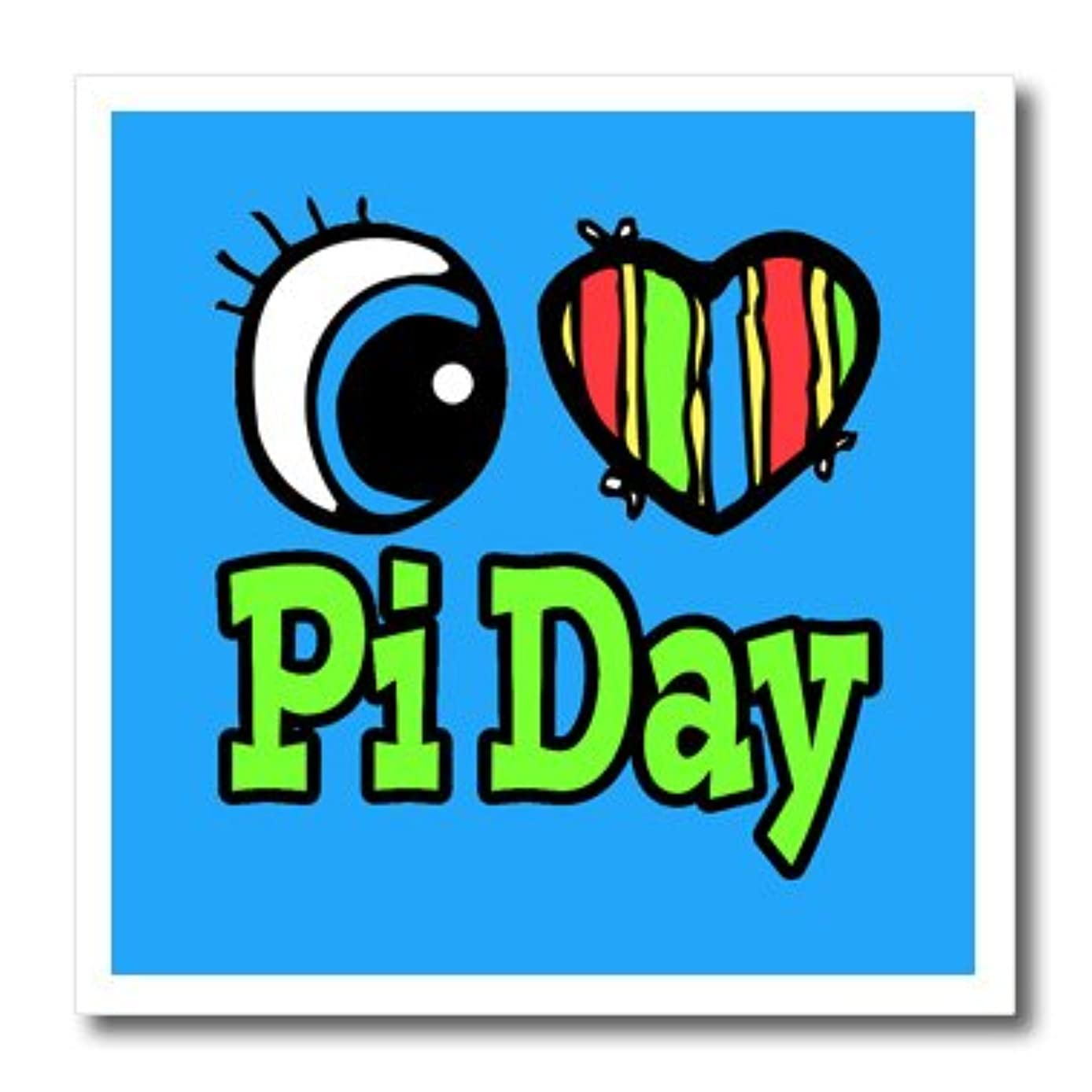 3dRose Bright Eye Heart I Love Pi Day-Iron on Heat Transfer, 8 by 8