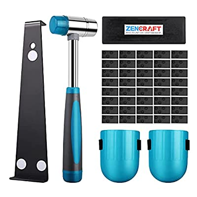 Premium Laminate Wood Flooring Installation Kit   Heavy Duty Pull Bar   Durable Rubber Tapping Block   Double-Faced Carbon Steel Hammer  Comfortable Foam Knee Pads   40 Wedge Spacers