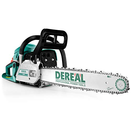 DEREAL 58cc-Gas-Chainsaw 2 Cycle Gasoline-Powered Chain Saws Handheld Cordless Petrol Chainsaws Optional18-Inches Guide Board Power Chain Saws for Trees Wood Farm Garden Ranch Forest Cutting