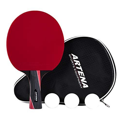 Artena Sports Equipment ITTF-zugelassener Tischtennisschläger, Premium Tischtennis-schläger, Tischtennis-Set mit Schutzhülle und 3 Tischtennis-Bällen