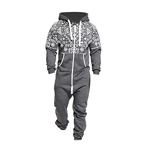 Heflashor Herren Kuscheliger Fleece Jumpsuit Sweat Overall Ganzkörperanzug Onesie Trainingsanzug Herbst Winter Warm Jogginganzug Sportanzug