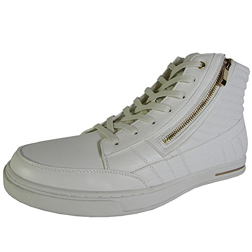 Madden by Steve Mens M-Dagon High Top Sneaker Shoes, White/Gold, US 13