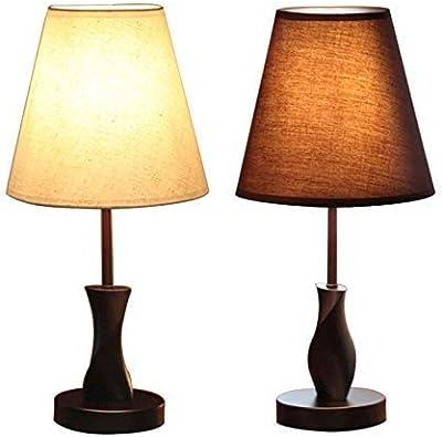 KF Lampe De Table Lampe De Table en Tissu en Bois Massif Simple Et Moderne, Lampe De Bureau Décorative De Chevet De Chambre À Coucher (Color : A)