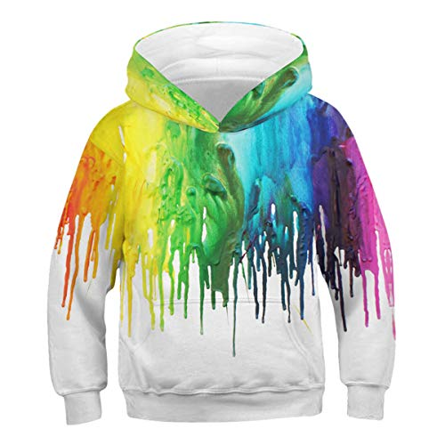 FEOYA Kid Girls Hoodies Paint Splatter Sweatshirts Novelty Sweater Children Green S 6-7Y