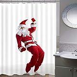 Duschvorhang-Weihnachtsserie 204,Anti-Schimmel Anti-Bakteriell Wasserdichter Badvorhang 3D Wirkung Polyester Duschvorhang Mit 12 Haken,Umweltfre&lich Waschbar Duschvorhang 120X180Cm
