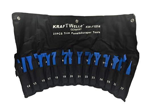 Türverkleidung Werkzeug Set 27 teilig in Rolltasche – Zierleistenkeile Lösewerkzeug für ein sicheres Lösen von Innenverkleidung und Kleberückständen auf empfindlichen Oberflächen (Blau, 27 teilig)