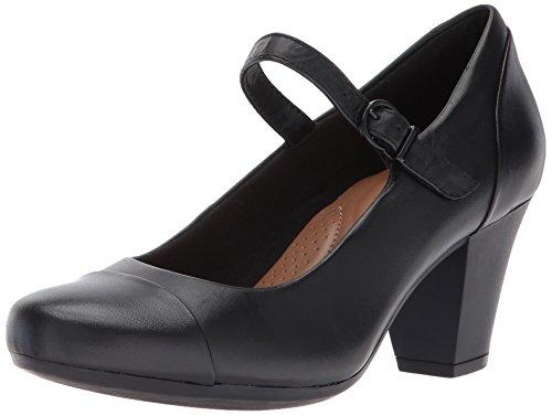 CLARKS Women's Garnit Tianna Dress Pump, Black Leather, 12 M US
