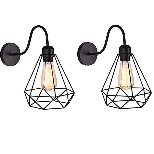 2 piezas Apliques de Pared Vintage Jaula Lámpara Industrial Lámpara de Pared,Casquillo E27,Color Negro,Metal Sconce sombra de iluminación