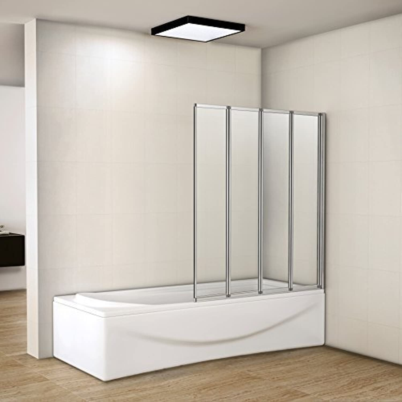 800x1400mm Shower Screen 4 Fold Folding Shower Bath Screen Glass Panel