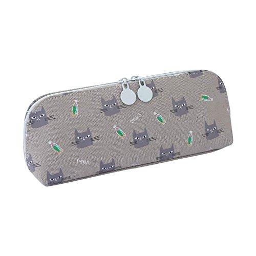 Qifumaer Toile Trousse Chat Trousse Sac de Stylo à Crayon Outils de Cosmétique Accessoires de Bureau Papeterie Fournitures Scolaires size 20.5 * 4.8 * 8CM (gris)