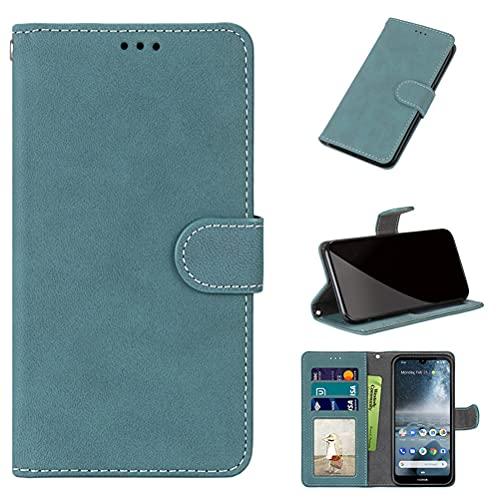 GARITANE Funda Compatible con Nokia 3.4,Cartera Fundas de Cuero Wallet Flip Mate Retro Case Cover Carcasa con Card Holder (Azul)