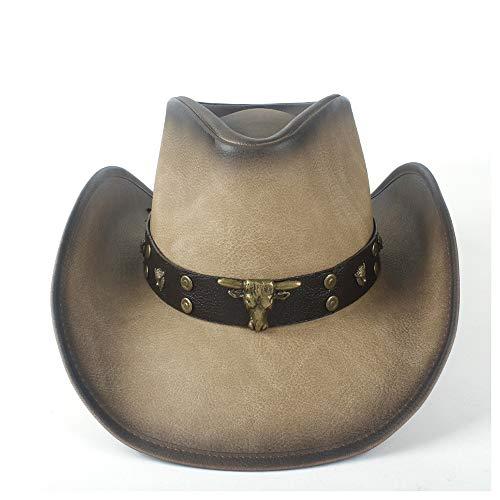 YIBANG-hat Chapeau de Cowboy Occidental de Femmes de Mode de Mode avec la Bande de Bull de Cuir de Punk for Le Chapeau de Monsieur Sombrero, léger, Respirant (Couleur : Tan, Taille : 58-59)