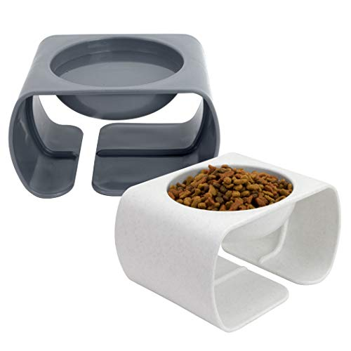 Kitty City Large Raised Cat Food Bowl Collection, Stress Free Pet Feeder and Waterer, Gray (CM-10062-CS01)
