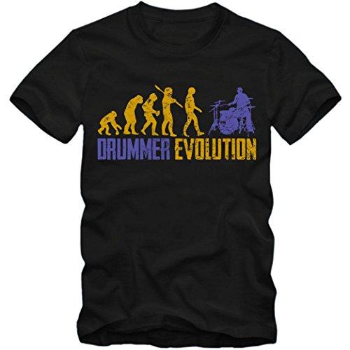 Drummer Evolution #1 T-Shirt | Schlagzeug | Drumms | Band | Herren | Shirt, Farbe:Schwarz (Deep Black L190);Größe:L