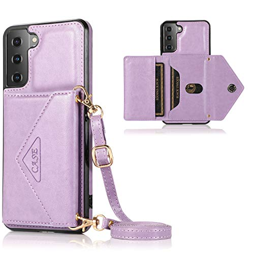 Futanwei Envelope Crossbody Lanyard Cases for Samsung Galaxy S21 Plus Case, Galaxy S21 Plus Wallet Case, PU Leather Back Cover Case with Card Holder for Samsung Galaxy S21 Plus, Lavender