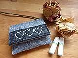 Tampon Täschchen grau - anthrazit I kleine Tasche aus Filz für deine Utensilien I passt in jede...