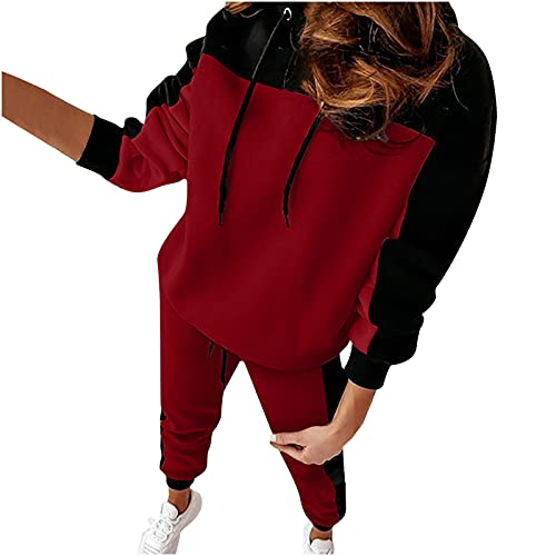Masrin Trainingsanzug Set Damen Sweatshirt Anzug in Kontrastfarbe mit Patchwork Langarm Hoodie + Hose mit elastischer Taille zweiteiliges Outfit Loungewear Set Sportbekleidung Freizeitkleidung