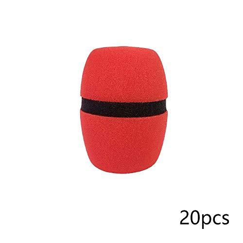 Bocotoer - Funda de espuma para micrófono (20 unidades), color rojo