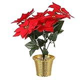vicasky artificiale natale poinsettia pianta natale fiore artificiale in vaso con vaso doro vaso per la casa fiori di natale decorazioni regalo di natale