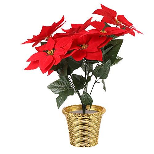 GARNECK Planta de Flor de Pascua Roja en Maceta Flor de Navidad Flor de Pascua Roja Artificial para Decoración del Hogar Y Regalo