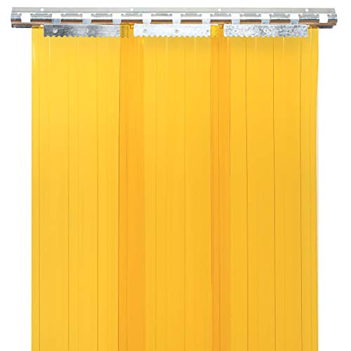 Barbella 7 Packs Plastic Curtain Strips 87 Inch Height 7 Inch Width Strip Door Curtain 3MM Thickness Insulated Curtains for Workshop, Garage, Pet Home, Warehouse (Yellow)