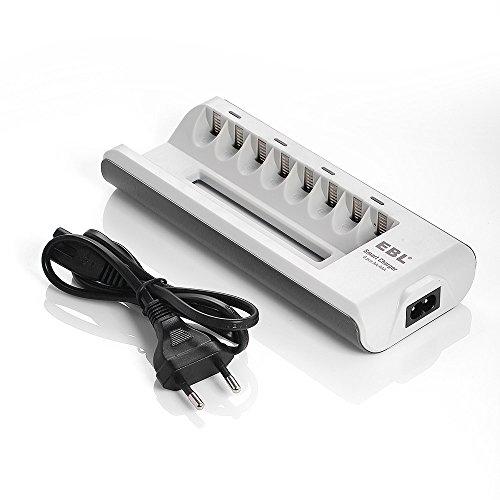EBL Akku Ladegerät AA AAA Ladegerät für Mignon AA, Micro AAA NI-MH NI-Cd wiederaufladbar Batterien 8-Ladeplatz mit LED Anzeige