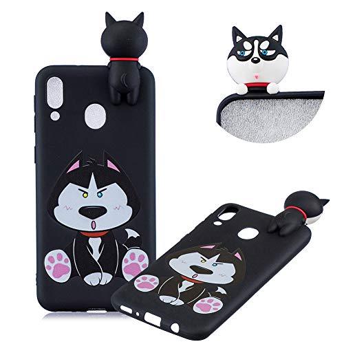 TPU Hülle für Galaxy M20,Weich Silikon Hülle für Galaxy M20,Moiky Komisch 3D Schwarz Hund Karikatur Entwurf Ultra Dünnen Scratch Resistant Soft Rückseite Abdeckung Handyhülle