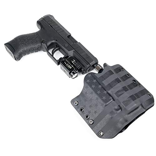 """OWB Holster - TLR-7, TLR-7A - USA Stealth Black (Right-Hand, for Springfield XD 40/45-4"""" Service Model)"""