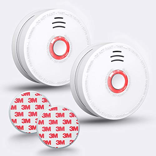 SITERWELL Smoke Detector - Battery-Operated(Not Hardwired) Smoke and Fire Alarm with Magnetic Fastening Kit Quick and Easy Installation for Ceiling Mounted Security Smoke Alarm