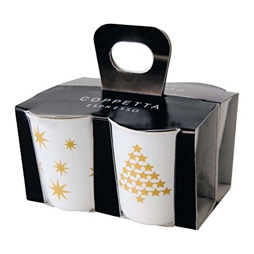 ASA COPPETTA 4er Set Espressobecher, Keramik, Gelbgold - Weiß, 6.5 x 6.5 x 7 cm, 4-Einheiten