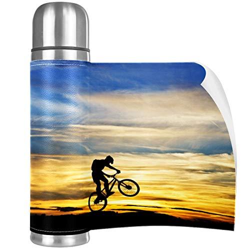 Taza de Café Bicicleta Sunset Shadow Termo Botella de Agua 500ml Acero Inoxidable Aislamiento de Vacío de Doble Pared Taza de Viaje 26x6.7cm