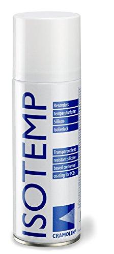 ISOTEMP 200 ml Spraydose - Besonders temperaturfester Silikon-Isolierlack - ITW Cramolin - 1221411 - hitze-, feuchtigkeits- und witterungsbeständiger Isolierlack, inkl. 1 St. DEWEPRO® SingleScrubs