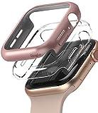 Ringke Slim Compatibile con Cover Apple Watch Serie 6/SE/5/4 40mm, Custodia PC Antigraffio (2 Pezzi) - Clear & Rose Gold