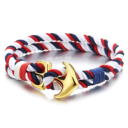 COOLSTEELANDBEYOND Pulsera de cuerda trenzada de algodón para hombre y mujer, con dos filas de ancla náutica, color azul, rojo y blanco