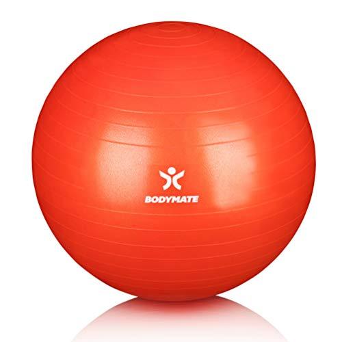 BODYMATE Gymnastikball mit GRATIS E-Book inkl. Luft-Pumpe Pepper-RED 65cm