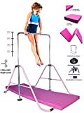 ToyKraft Jungle Gym Gymnastics Bar w 2x6 Mat Monkey Bars, Home Gym Expandable