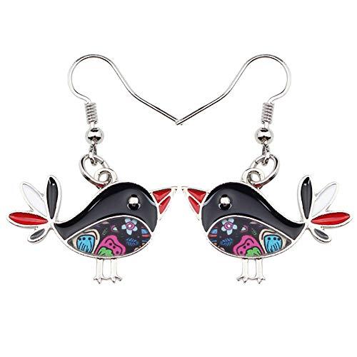 XAOQW Moda Gran aleación de Esmalte Largo Lindo pájaro Feliz Colgar Pendientes de Gota de Moda Damas joyería para niñas Mujeres-Gris