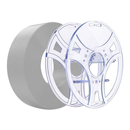 eSUN Recarga PLA+ y Kit eSpool, Carrete de Filamento Vacío Reutilizable y Extraíble para Impresora 3D Recarga PLA Plus 1.75mm, 1KG (2.2 LBS) Filamento de Impresión 3D, Plata