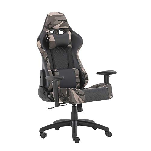WV LeisureMaster Ergonomischer Gaming Stuhl Bürostuhl mit Kopfstütze und Lendenwirbelstütze, verstellbarer Drehstuhl (Camouflage)
