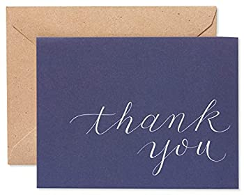 American Greetings Thank You Cards Navy Blue with Brown Kraft-Style Envelopes  50-Count