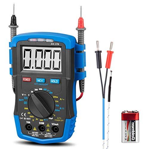 ANNMETER AN-37Bマルチメータ電圧テスターデジタルアンプメーター-オームボルトアンプテスト用DC AC電圧計電気テスター-ダイオードDC抵抗導通検出器、バックライト付きLCD抵抗計付き電気テスター