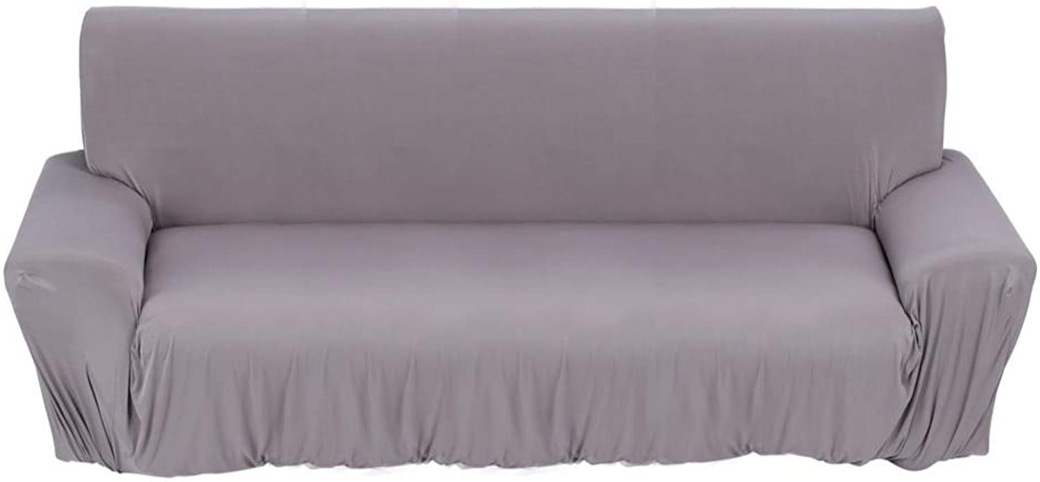 1 2 3 Seat Sofa Cover New Slipcover Stretchable Pure color Polyester Fiber Sofa Cushion Washable Home Office Hotel Sofa Covers   Gary, 2 Seater 145X185cm, United States