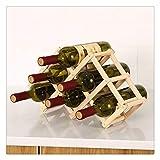 Yousiju Estantes de Vino de Madera Plegables Soportes para gabinete de Botellas Organizador de estantes de Madera Almacenamiento para Vitrina Retro (Color : 6 Bottles-Original)