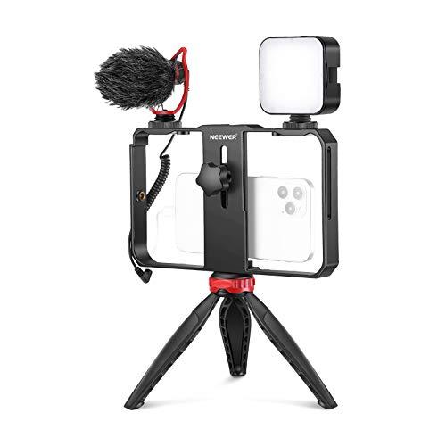 Neewer Smartphone Video Rig mit Mikrofon und LED Beleuchtungsset Film Gehause Telefonvideostabilisatorgriff Stativhalterung mit Mini Stativstander fur Vlogging Tutorials
