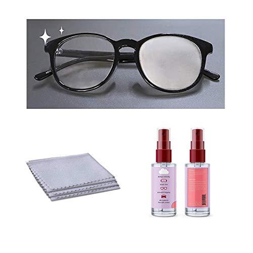 60ml Brillen Anti-Fog Set, Anti Nebel Brillen Spray + AntiFog Mikrofasergläser Reinigungstuch, 250-fach wiederverwendbare Gläser Reinigungstuch, tragbare Gläser Reiniger