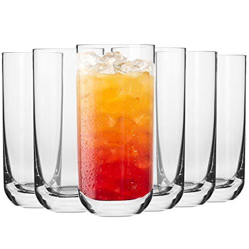 Krosno Longdrinkgläser Wassergläser Trinkgläser | Set von 6 | 360 ML | Glamour Kollektion | Perfekt für Zuhause, Restaurants und Partys | Spülmaschinenfest